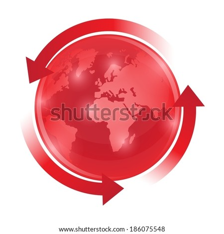 Red world globe with circulation arrows - stock vector