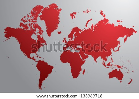 Red world map with gray background - stock vector