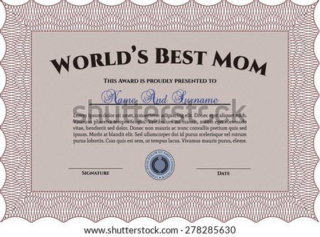 Red Worlds Best Mom Template Award Stock Vector HD (Royalty Free ...