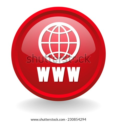 Red world wide web button on white background