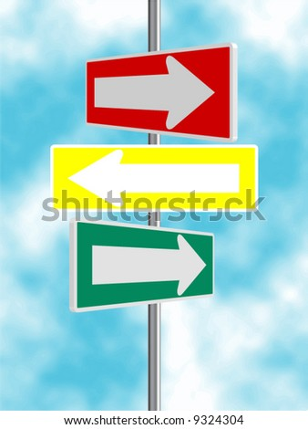Red, Yellow and Green Arrow Road Signs Vector Background - stock vector