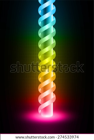 Red yellow blue color bright laser beam Light Abstract Technology background for computer graphic website internet and business. circuit. sound wave. glowing neon lights. vector. dark black background - stock vector
