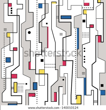 red, yellow, blue & gray abstract pattern - stock vector