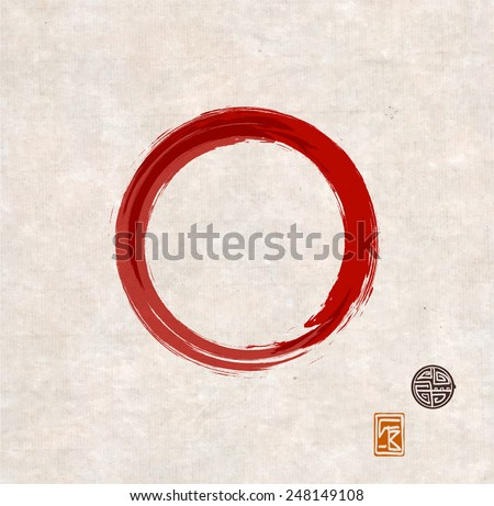 Red zen circle on vintage rice paper with decorative stamps. Red circle hand-drawn with ink. - stock vector