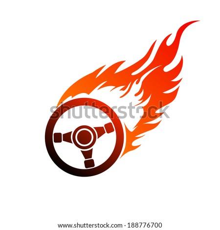 Reddish orange symbol burning automobile steering - stock vector