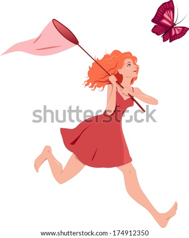 Redhead girl in a red dress chasing a butterfly with a net. Vector illustration, isolated on white - stock vector