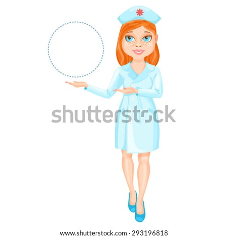 Redhead nurse pointing on something by her hands / There is a redhead nurse wearing a blue suit. She stands straight and pointing by her both hands on something on the left  - stock vector