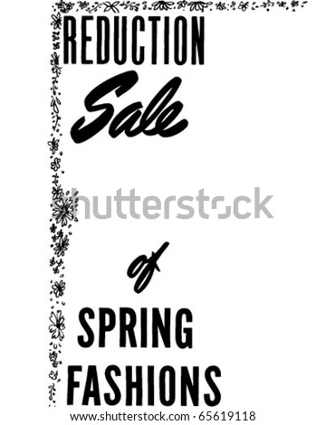 Reduction Sale Of Spring - Ad Header - Retro Clipart - stock vector