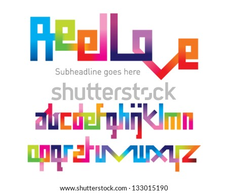 Reel Love Joining Font - stock vector