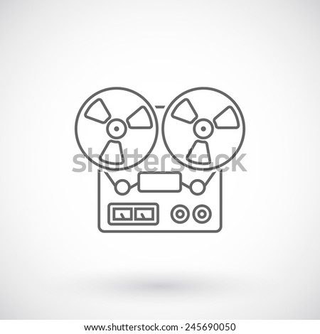 Reel tape recorder outline icon - stock vector