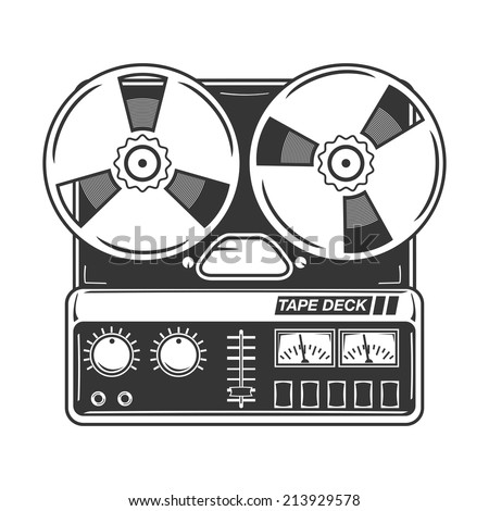 Reel-to-reel tape deck. - stock vector