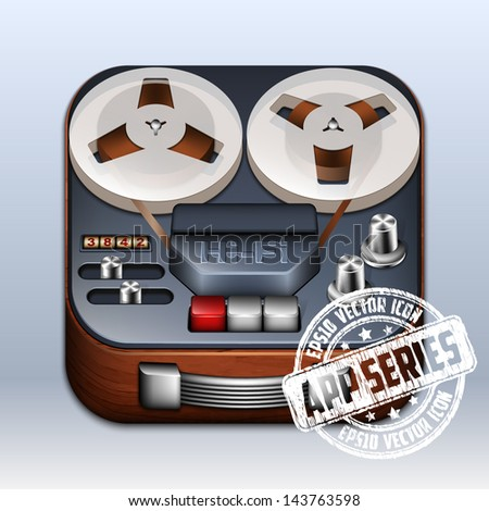 Reel to Reel Tape Recorder Icon. App Series - stock vector