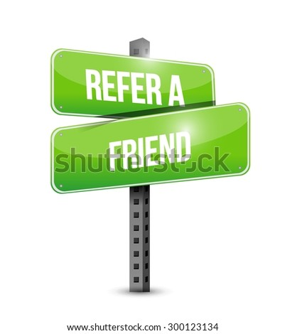 refer a friend road sign concept illustration design