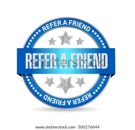 refer a friend seal sign concept illustration design - stock vector