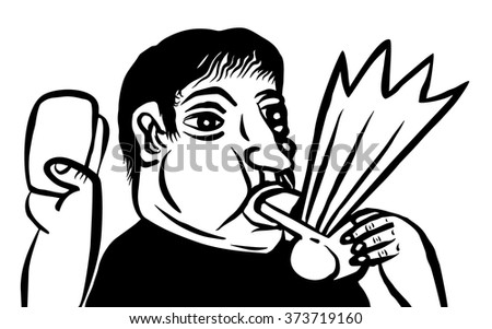 Referee blows his whistle - stock vector