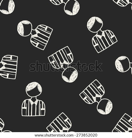 referee doodle seamless pattern background