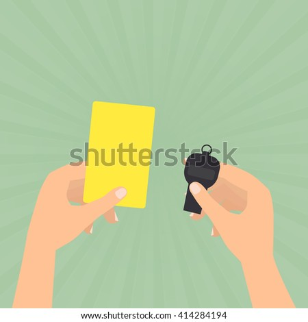 Referee hands hold a yellow card and whistle on sun rays green background.  - stock vector