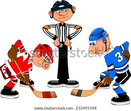 Referee is ready to perform dropping in the center of the field hockey - stock vector