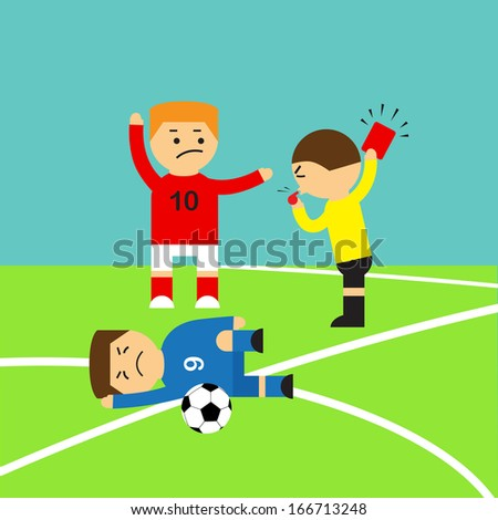 Referee showing the red card to a soccer player who making tackle foul, illustration vector design. - stock vector