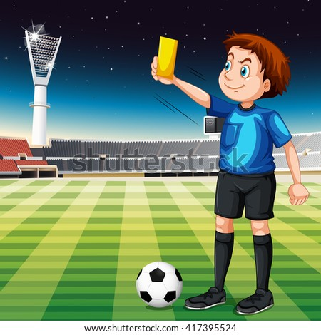 Referee showing yellow ticket in football field illustration - stock vector
