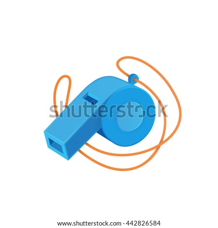 Referee whistle isolated on white. Vector illustration easy to edit.