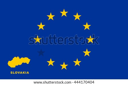 Referendum of the Slovakia membership of the European Union. EU flag with the country of Slovakia. The concept of leaving EU. Vector illustration - stock vector