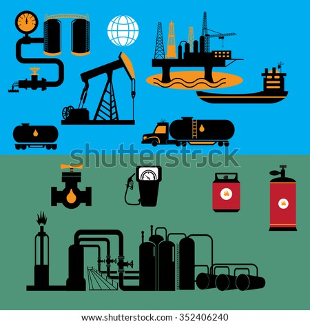Refinery factory icons and symbols for industry design, also a logo idea.  - stock vector