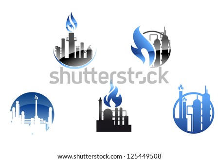 Refinery factory icons and symbols for industry design, also a logo idea. Jpeg version also available in gallery - stock vector