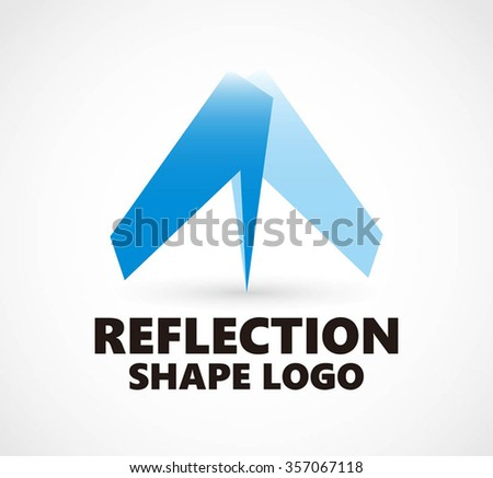 Reflection wings to fly abstract vector and logo design or template aviation plane business icon of company identity symbol concept