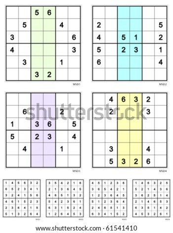 Reflective Mini-Sudoku vector set.  Easy. 12 clues.