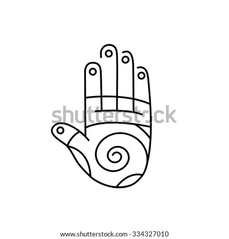 Reflex therapy energy zones on palm hand black linear icon on white background | flat design alternative healing illustration and infographic - stock vector