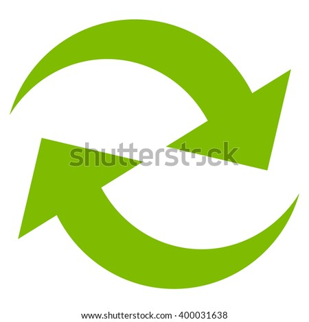 Refresh Arrows vector icon. Style is flat icon symbol, eco green color, white background. - stock vector