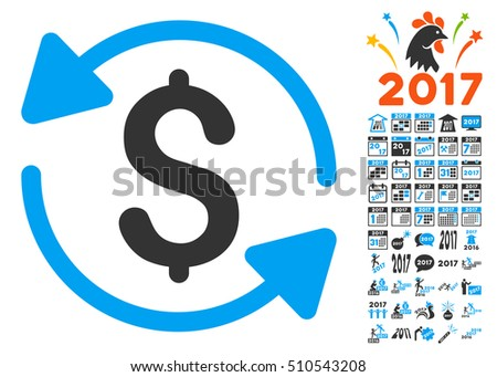 Refresh Balance pictograph with bonus 2017 new year design elements. Vector illustration style is flat iconic symbols,modern colors.