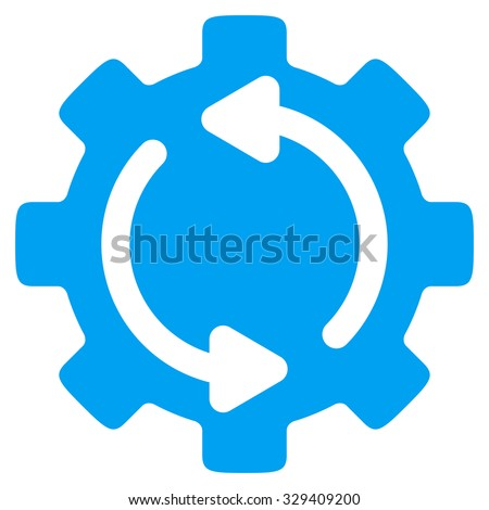 Refresh Engine vector icon. Style is flat symbol, blue color, rounded angles, white background. - stock vector
