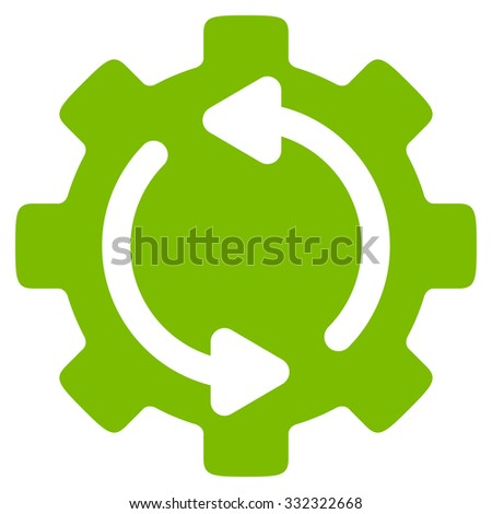 Refresh Engine vector icon. Style is flat symbol, eco green color, rounded angles, white background. - stock vector
