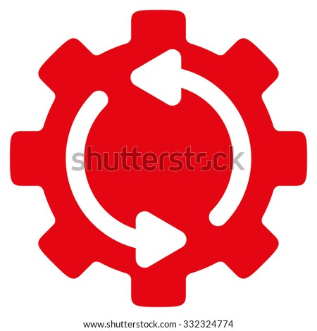 Refresh Engine vector icon. Style is flat symbol, intensive red color, rounded angles, white background. - stock vector
