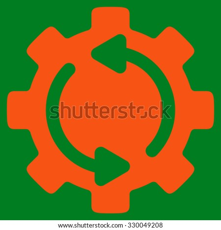 Refresh Engine vector icon. Style is flat symbol, orange color, rounded angles, green background. - stock vector