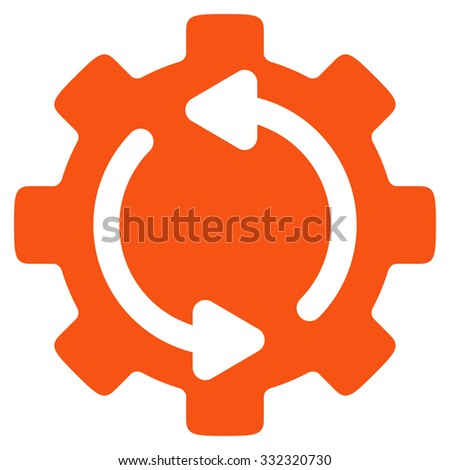 Refresh Engine vector icon. Style is flat symbol, orange color, rounded angles, white background. - stock vector