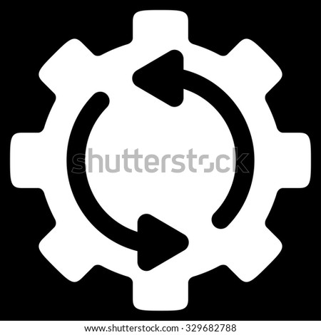 Refresh Engine vector icon. Style is flat symbol, white color, rounded angles, black background. - stock vector
