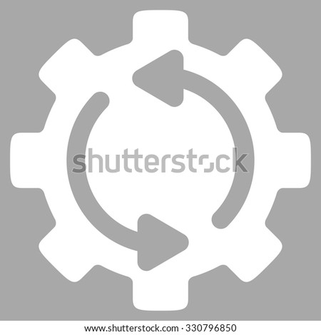 Refresh Engine vector icon. Style is flat symbol, white color, rounded angles, silver background. - stock vector
