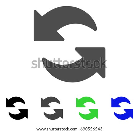 Refresh flat vector pictogram. Colored refresh, gray, black, blue, green pictogram variants. Flat icon style for application design.