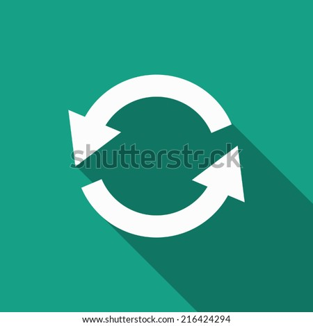 refresh icon with long shadow - stock vector