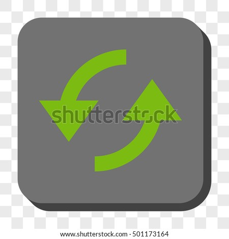 Refresh rounded button. Vector pictograph style is a flat symbol in a rounded square button, light green and gray colors, chess transparent background.