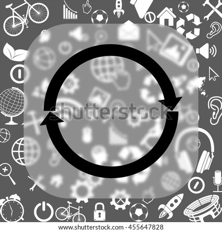 refresh vector icon - matte glass button on background consisting of different icons