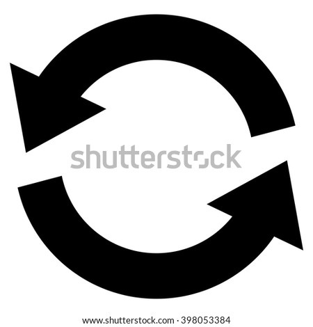 Refresh vector icon. Style is flat icon symbol, black color, white background. - stock vector