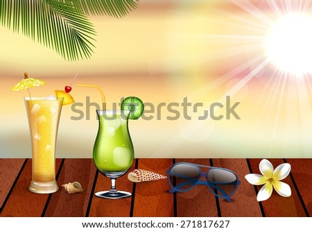 Refreshing cocktail on beach table. vector