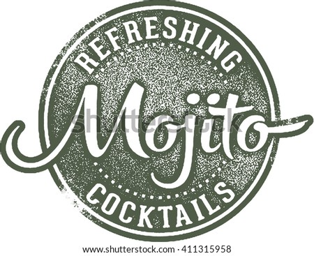 Refreshing Mojito Cocktail Stamp - stock vector