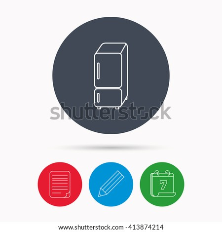 Refrigerator icon. Fridge sign. Calendar, pencil or edit and document file signs. Vector - stock vector