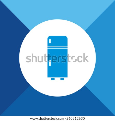 Refrigerator Icon on Blue Background. Eps-10. - stock vector
