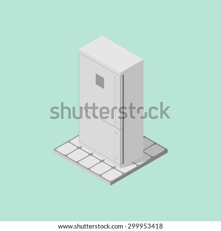 Refrigerator isometric - stock vector